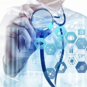 doctor-with-stethoscope-and-hexagon-icons-foreground
