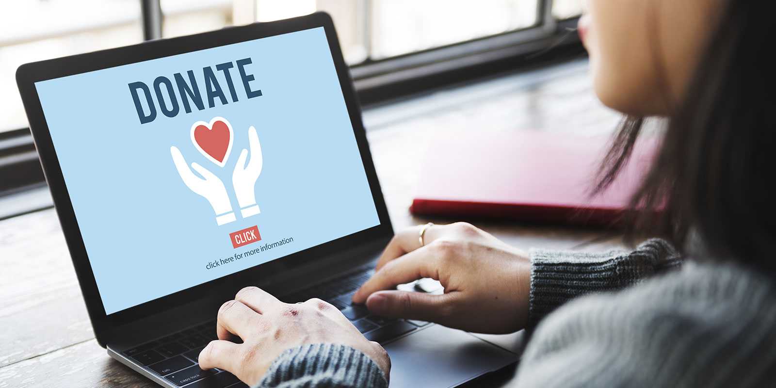 Picture of person on laptop with Donate link